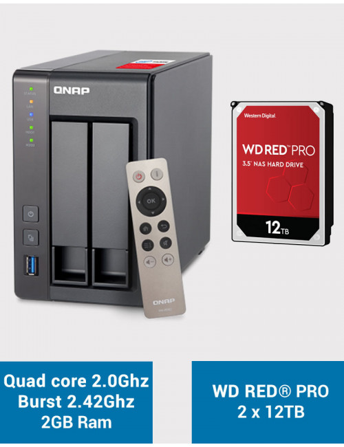 QNAP TS-251+ Serveur NAS WD RED PRO 24To (2x12To)