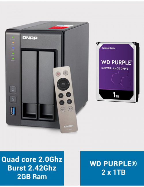 QNAP TS-251+ Serveur NAS WD PURPLE 2 To (2x1To)