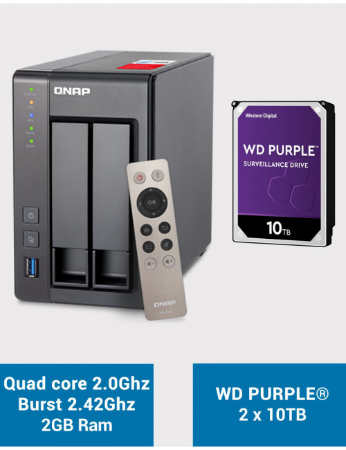 QNAP TS-251+ Serveur NAS WD PURPLE 20To (2x10To)