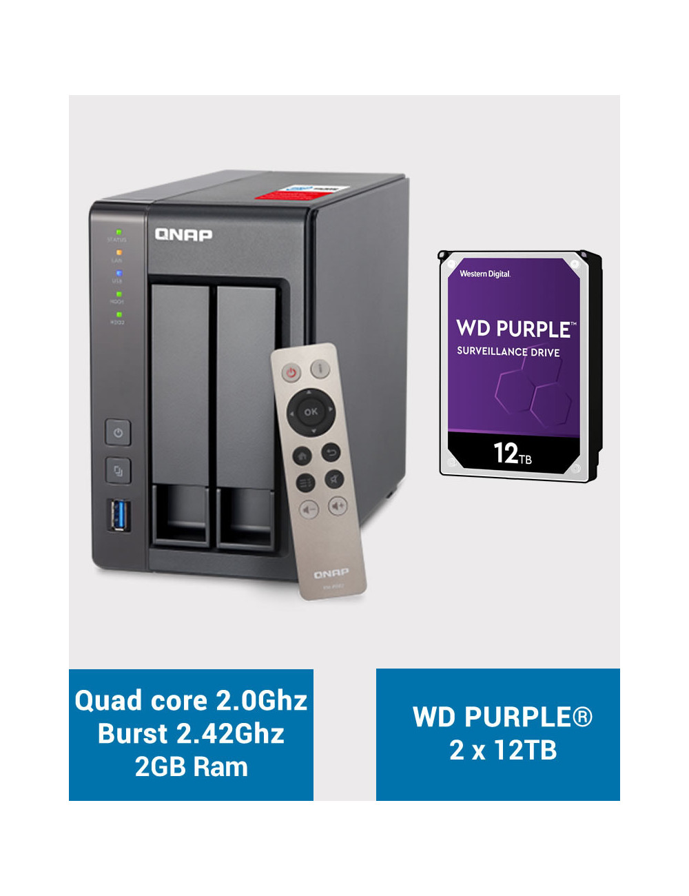 QNAP TS-251+ Serveur NAS WD PURPLE 24To (2x12To)