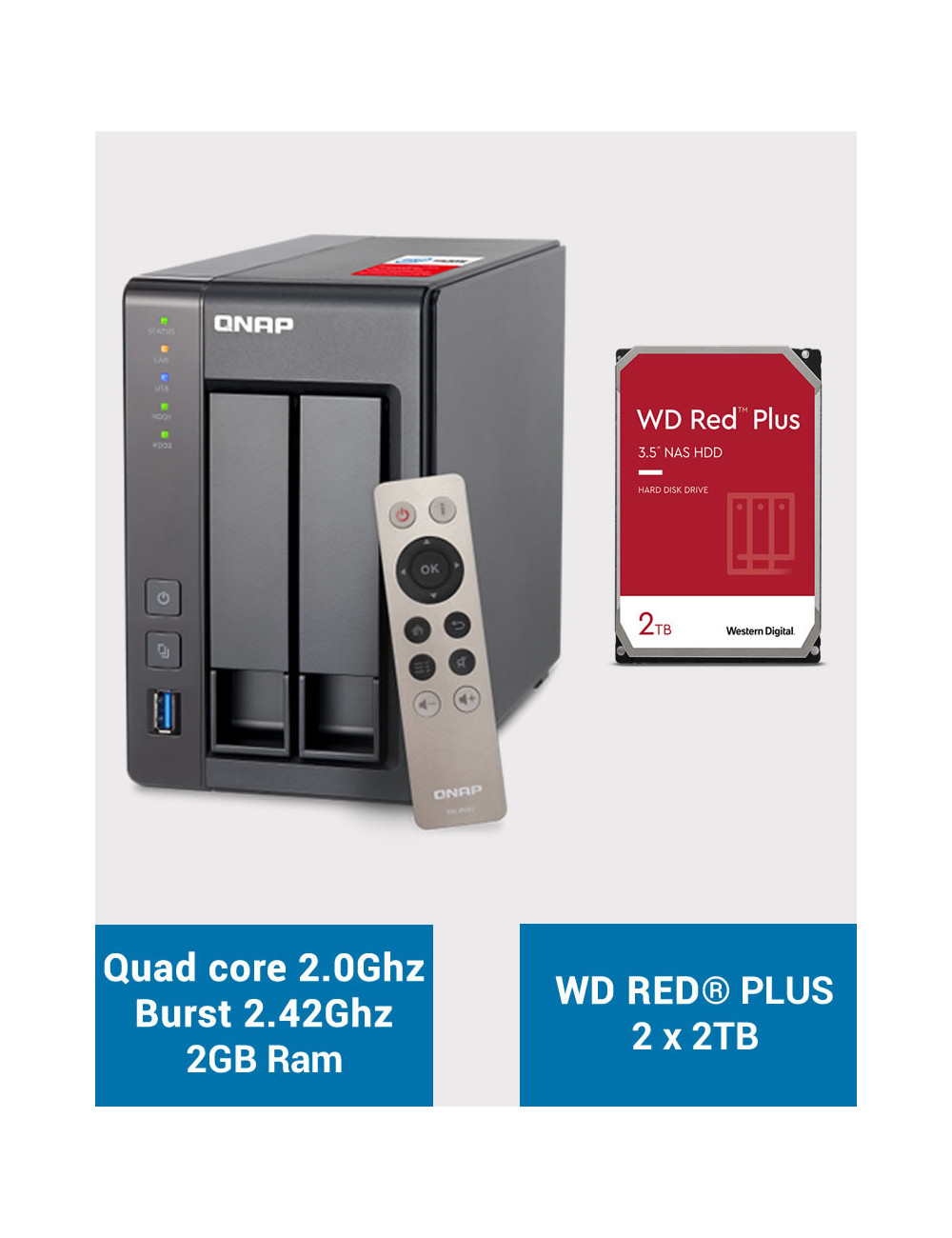QNAP TS-251+ Serveur NAS WD RED PLUS 4To (2x2To)
