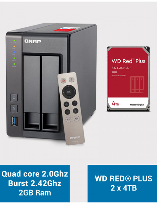 QNAP TS-251+ Serveur NAS WD RED PLUS 8To (2x4To)