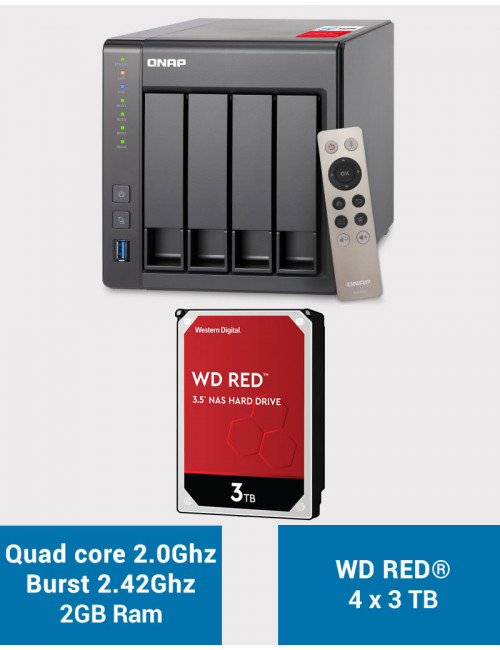 QNAP TS-451+ 2Go Serveur NAS WD RED 12To (4x3To)