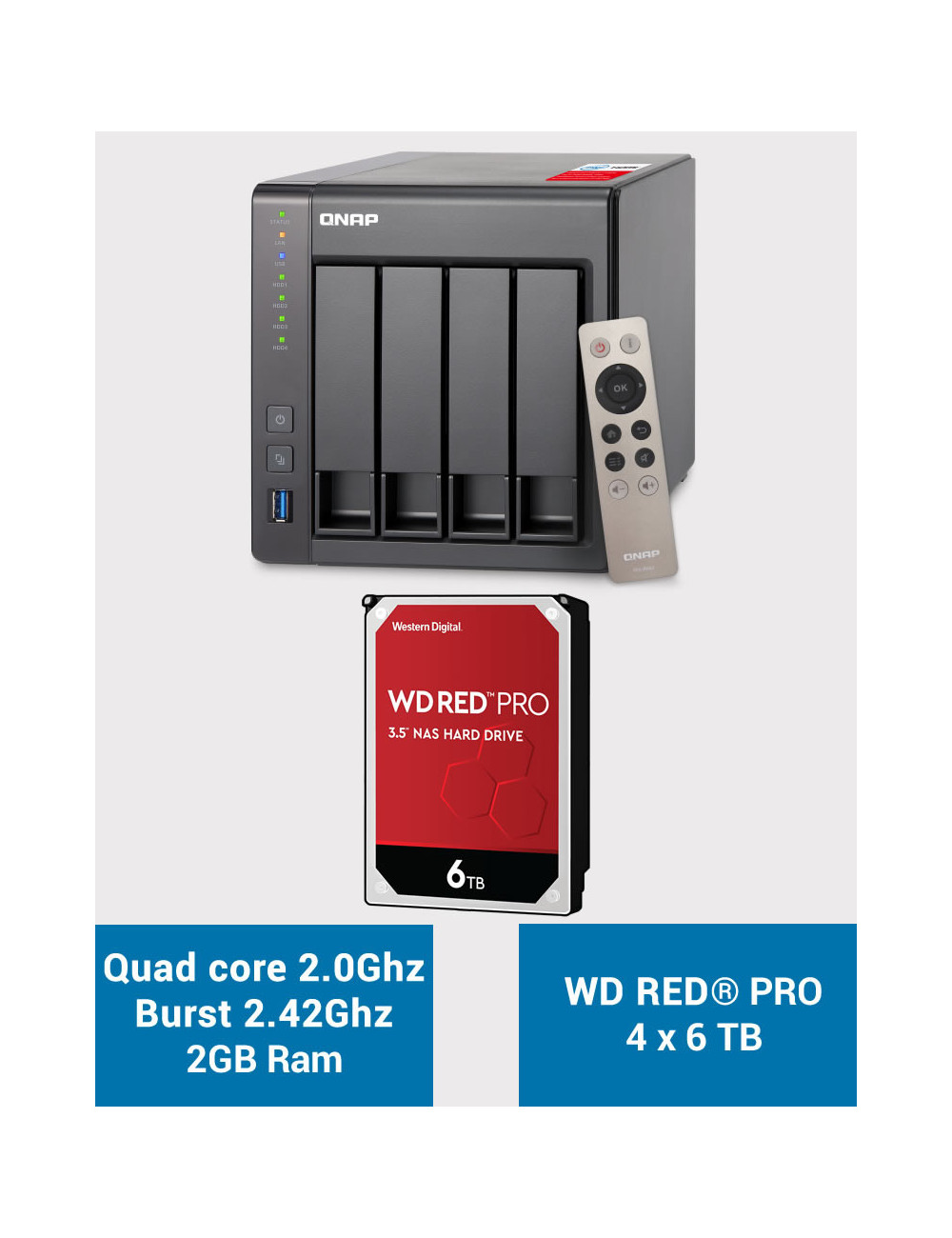 QNAP TS-451+ 2Go Serveur NAS WD RED PRO 24To (4x6To)