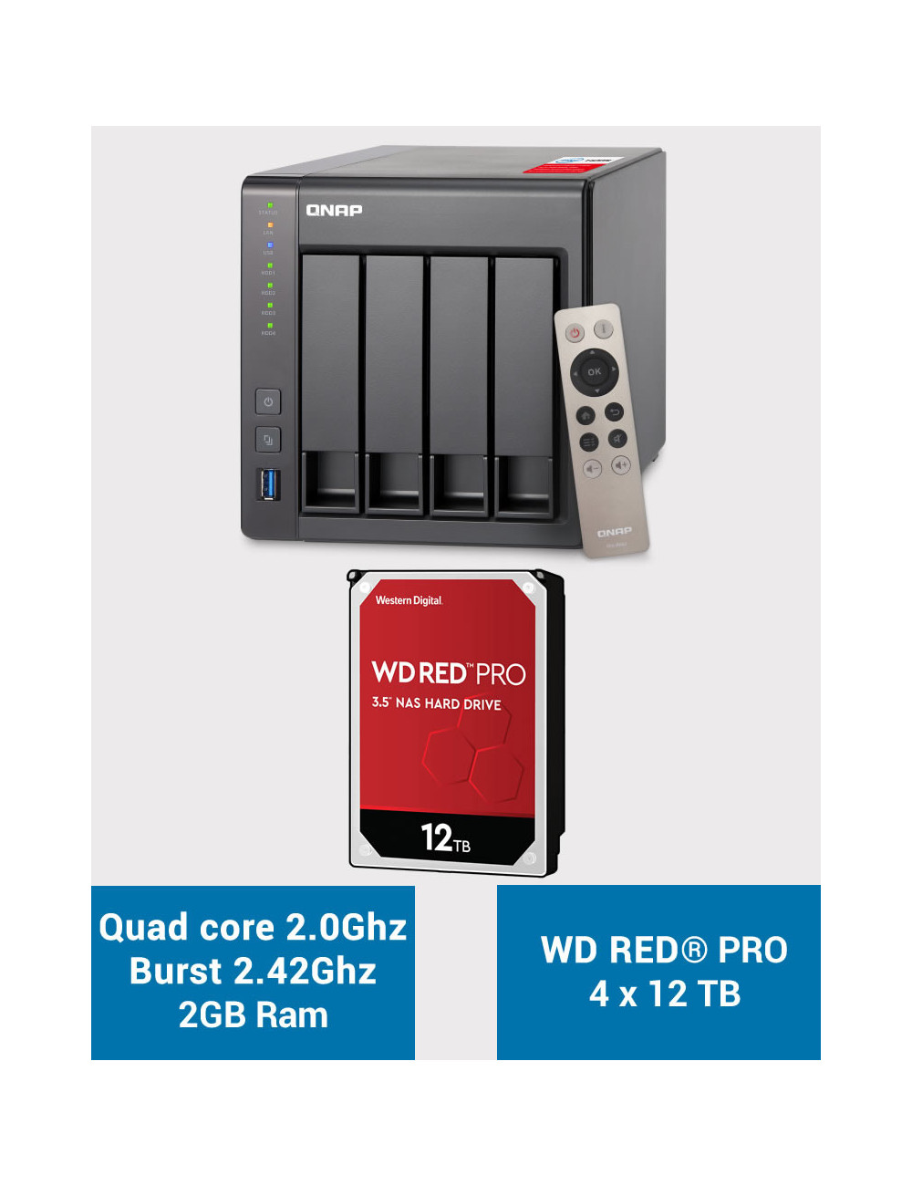 QNAP TS-451+ 2Go Serveur NAS WD RED PRO 48To (4x12To)