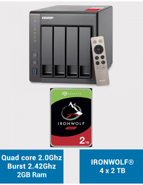 QNAP TS-451+ 2Go Serveur NAS IRONWOLF 8To (4x2To)