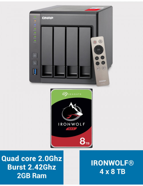 QNAP TS-451+ 2Go Serveur NAS IRONWOLF 32To (4x8To)