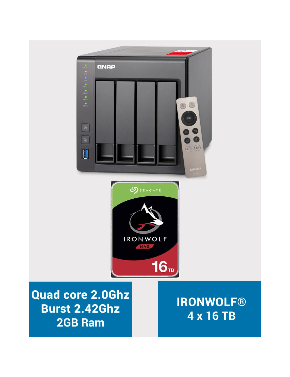 QNAP TS-451+ 2Go Serveur NAS IRONWOLF 64To (4x16To)