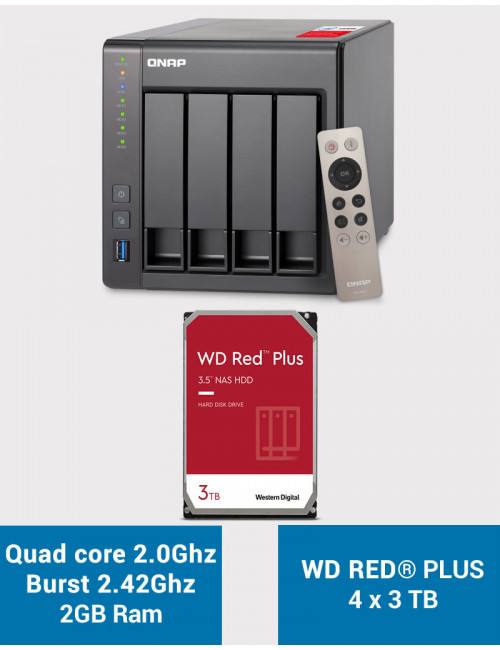 QNAP TS-451+ 2Go Serveur NAS WD RED PLUS 12To (4x3To)