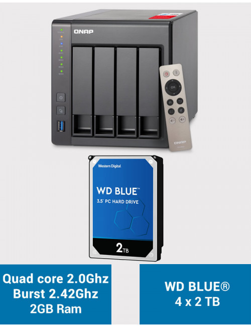 QNAP TS-451+ 2Go Serveur NAS WD BLUE 8To (4x2To)