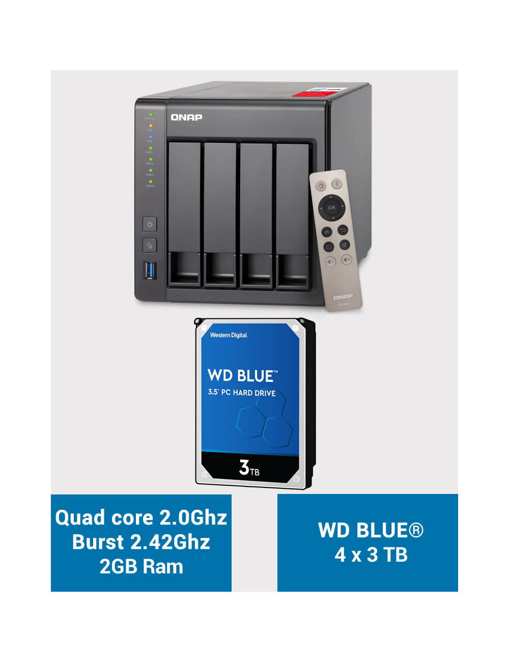 QNAP TS-451+ 2Go Serveur NAS WD BLUE 12To (4x3To)