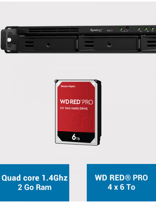 Synology RS819 Serveur NAS WD RED PRO 24To (4x6To)