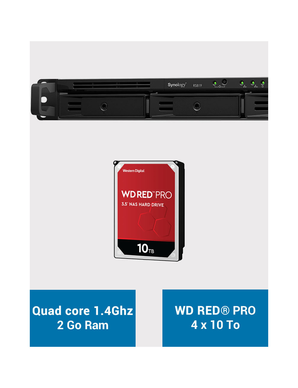 Synology RS819 Serveur NAS WD RED PRO 40To (4x10To)