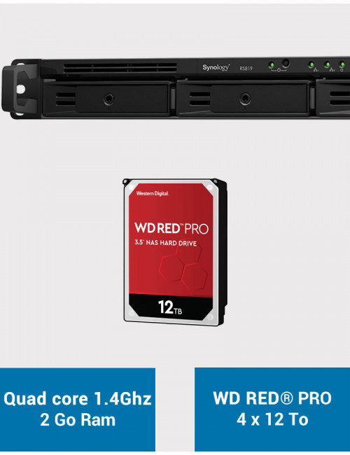 Synology RS819 Serveur NAS WD RED PRO 48To (4x12To)