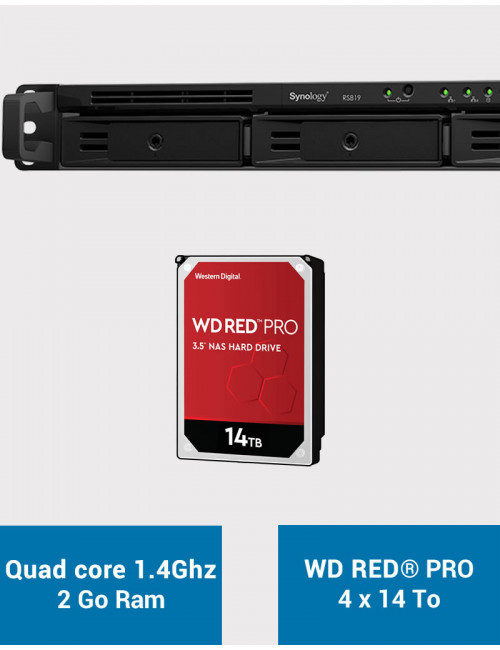 Synology RS819 Serveur NAS WD RED PRO 56To (4x14To)
