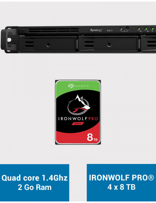 Synology RS819 Serveur NAS IRONWOLF PRO 32To (4x8To)