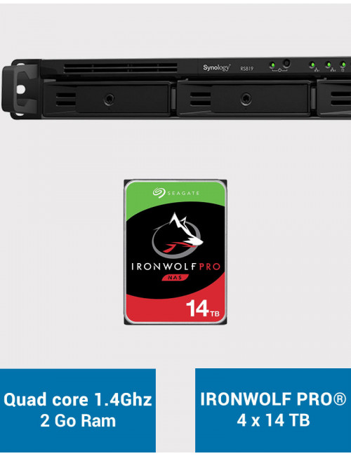 Synology RS819 Serveur NAS IRONWOLF PRO 56To (4x14To)