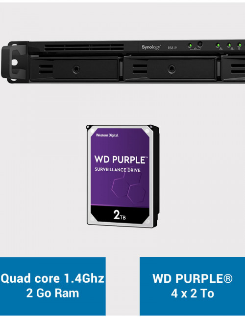 Synology RS819 Serveur NAS WD PURPLE 8To (4x2To)