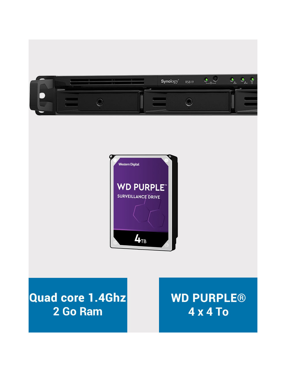 Synology RS819 Serveur NAS WD PURPLE 16To (4x4To)