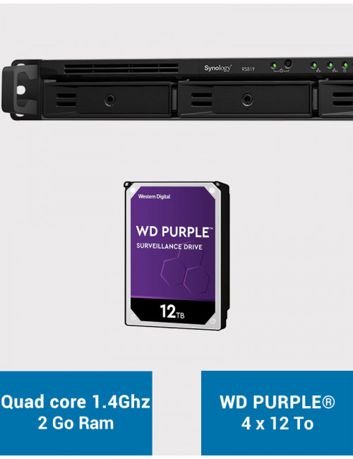 Synology RS819 Serveur NAS WD PURPLE 48To (4x12To)