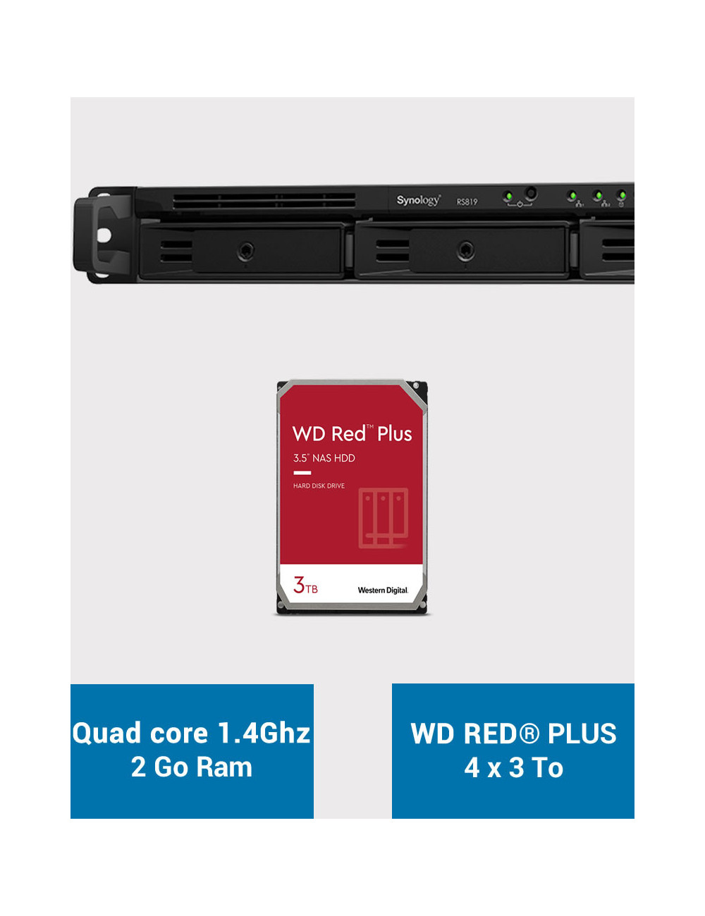 Synology RS819 Serveur NAS WD RED PLUS 12To (4x3To)