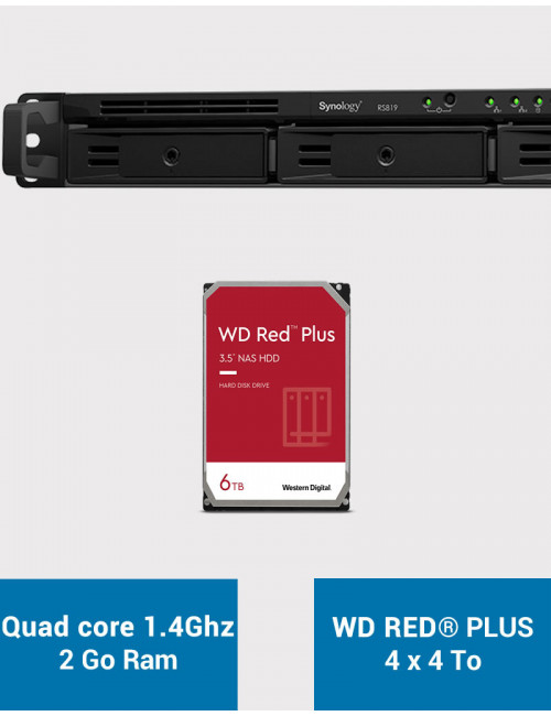 Synology RS819 Serveur NAS WD RED PLUS 24To (4x6To)