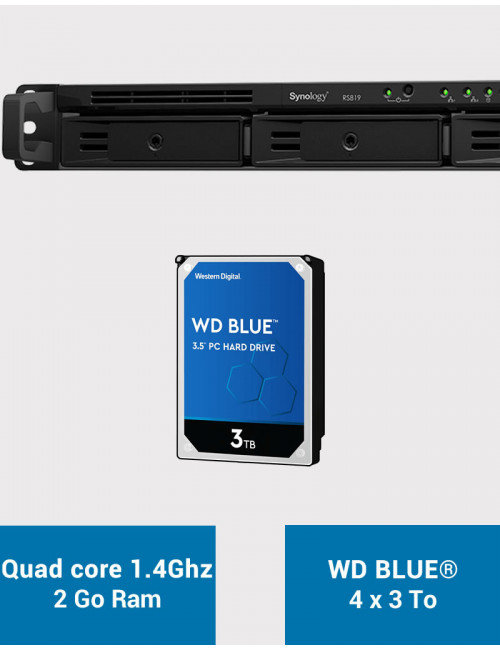Synology RS819 Serveur NAS WD BLUE 12To (4x3To)