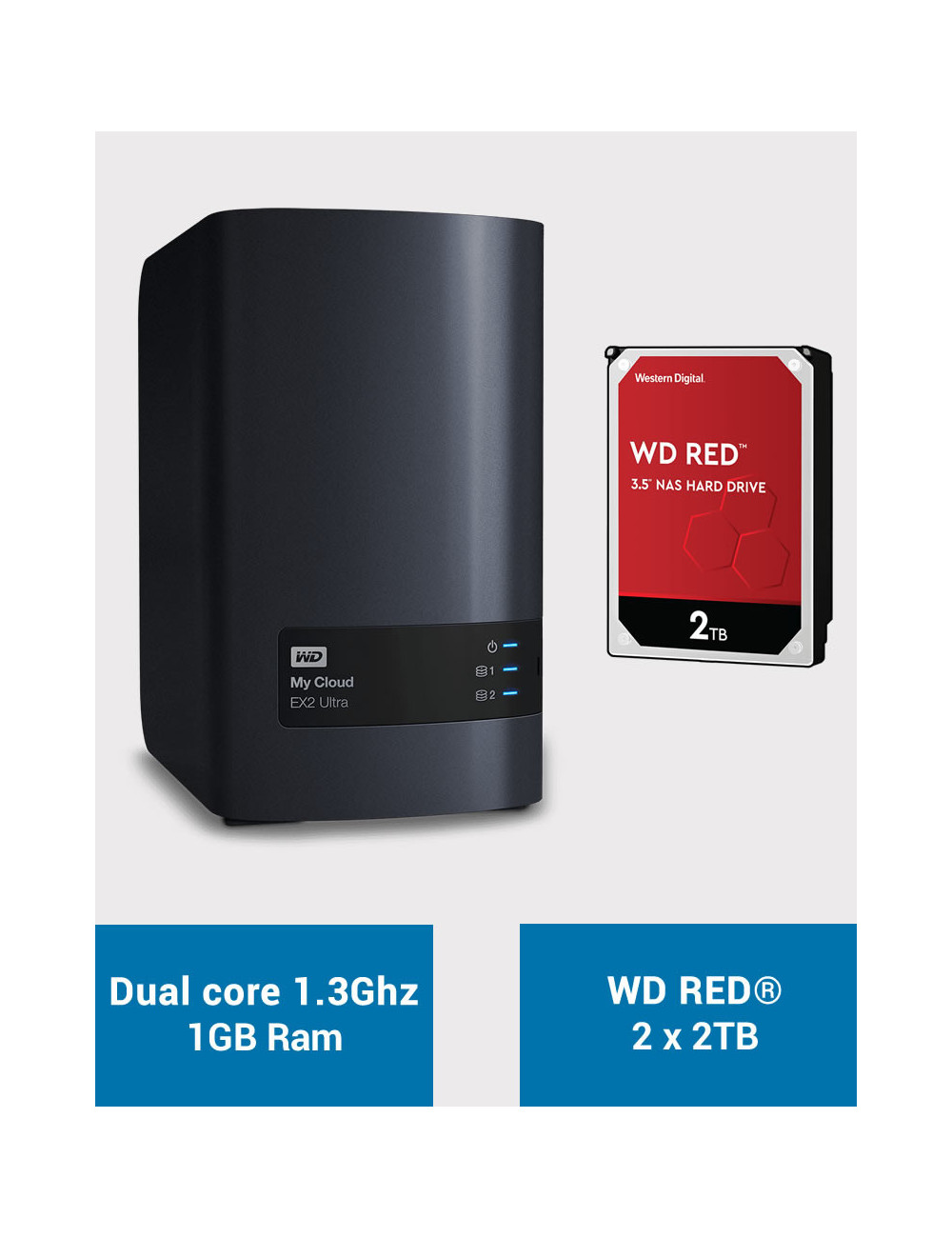 Western Digital EX2 Serveur NAS WD RED 4To (2x2To)