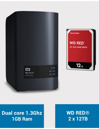 Western Digital EX2 Serveur NAS WD RED 24To (2x12To)
