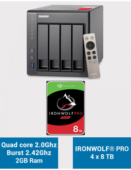 QNAP TS-451+ 2Go Serveur NAS IRONWOLF PRO 32To (4x8To)