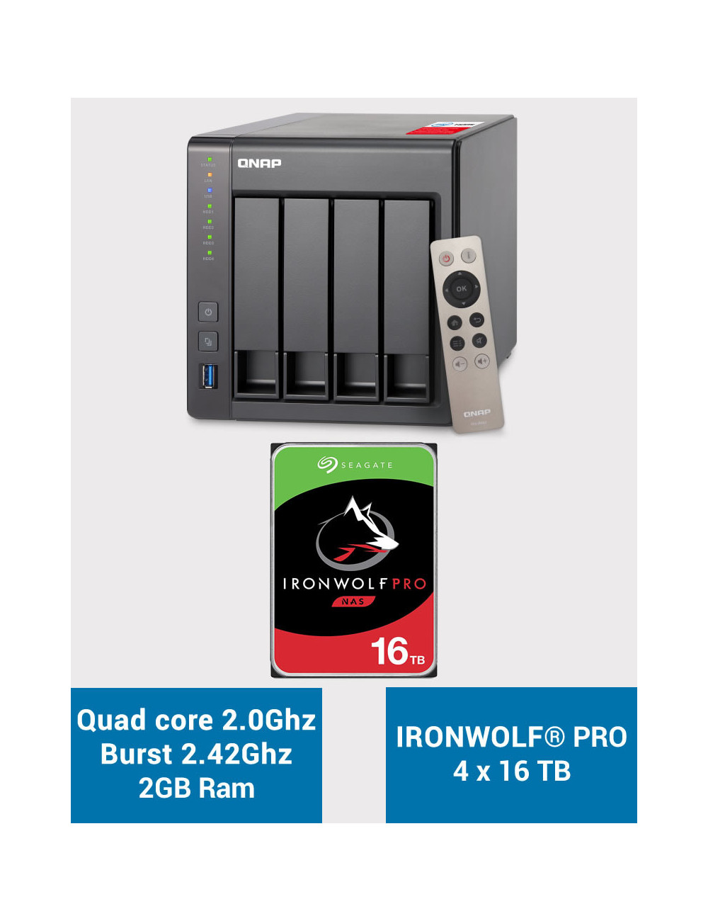 QNAP TS-451+ 2Go Serveur NAS IRONWOLF PRO 64To (4x16To)