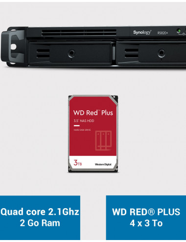 Synology RS820+ Serveur NAS WD RED PLUS 12To (4x3To)