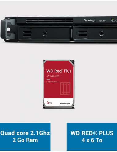 Synology RS820+ Serveur NAS WD RED PLUS 24To (4x6To)