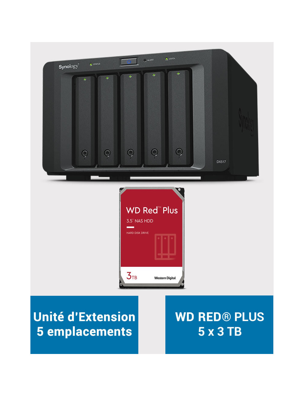 Synology DX517 Unité d'extension WD RED PLUS 15To (5x3To)