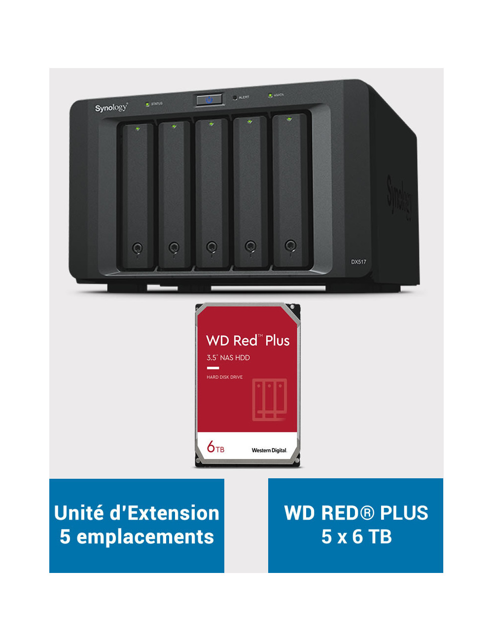 Synology DX517 Unité d'extension WD RED PLUS 30To (5x6To)