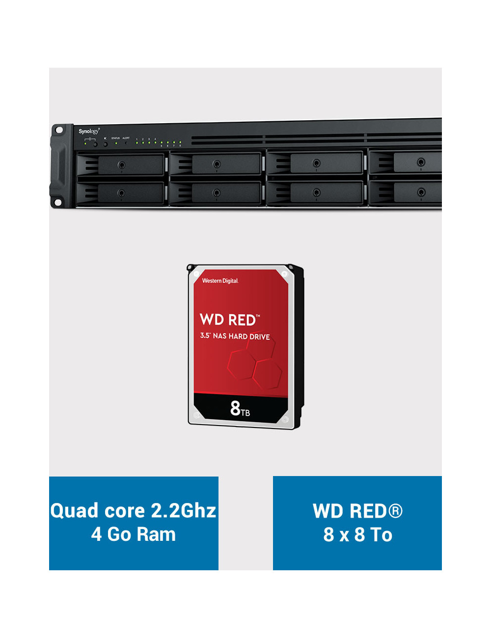 Synology RS1221+ Serveur NAS Rack WD RED 64To (8x8To)