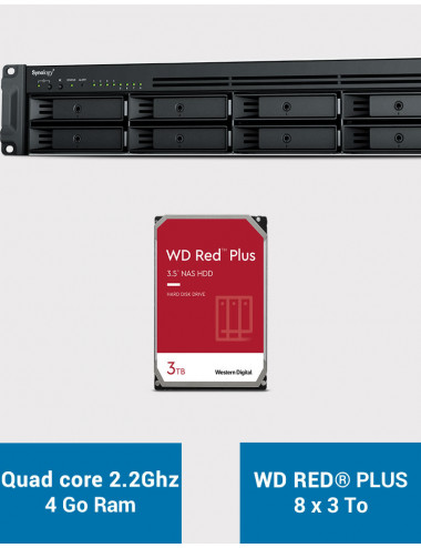 Synology RS1221+ Serveur NAS Rack WD RED PLUS 24To (8x3To)