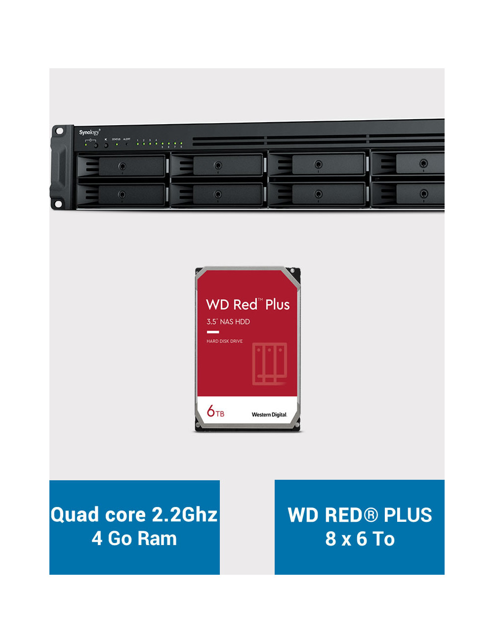 Synology RS1221+ Serveur NAS Rack WD RED PLUS 48To (8x6To)