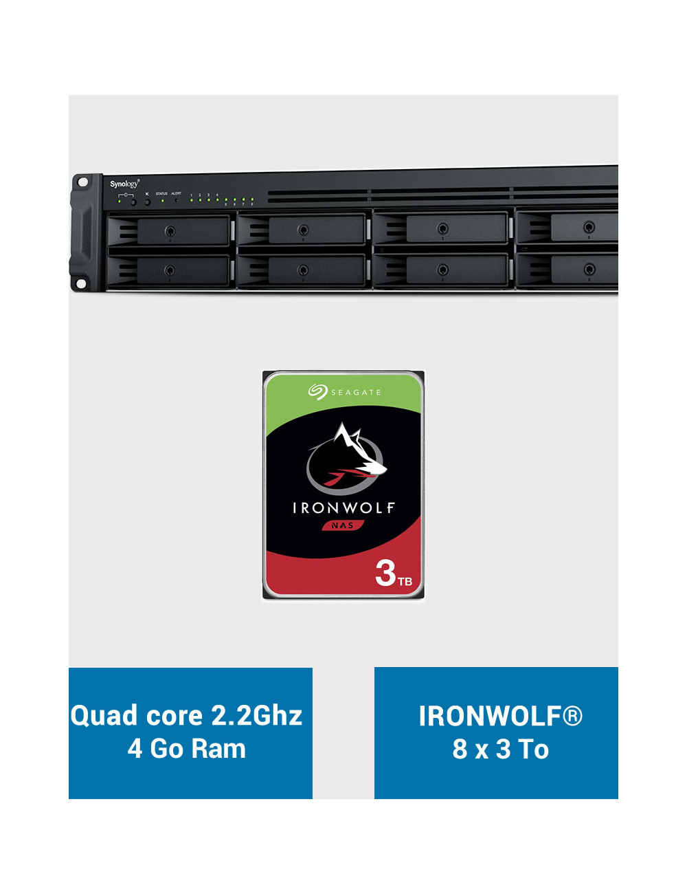 Synology RS1221+ Serveur NAS Rack IRONWOLF 24To (8x3To)