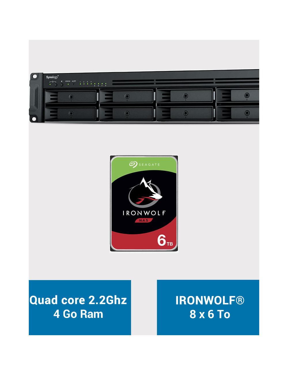 Synology RS1221+ Serveur NAS Rack IRONWOLF 48To (8x6To)