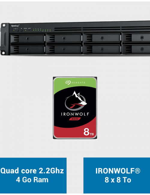 Synology RS1221+ Serveur NAS Rack IRONWOLF 64To (8x8To)