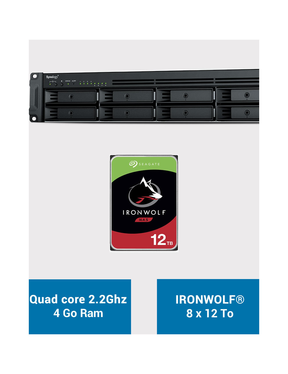 Synology RS1221+ Serveur NAS Rack IRONWOLF 96To (8x12To)