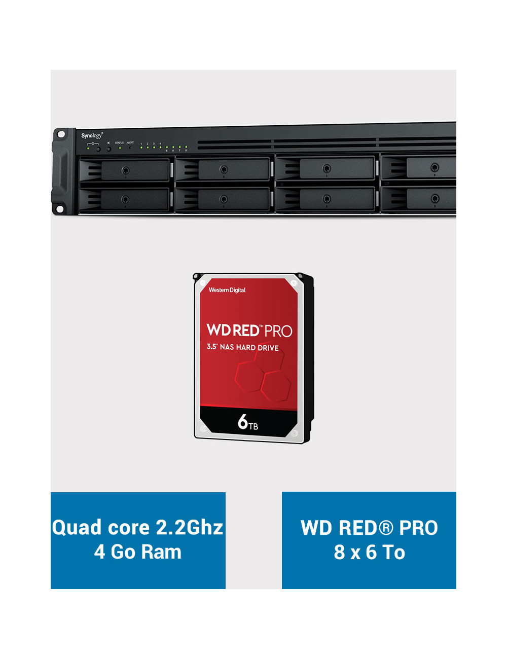 Synology RS1221+ Serveur NAS Rack WD RED PRO 48To (8x6To)
