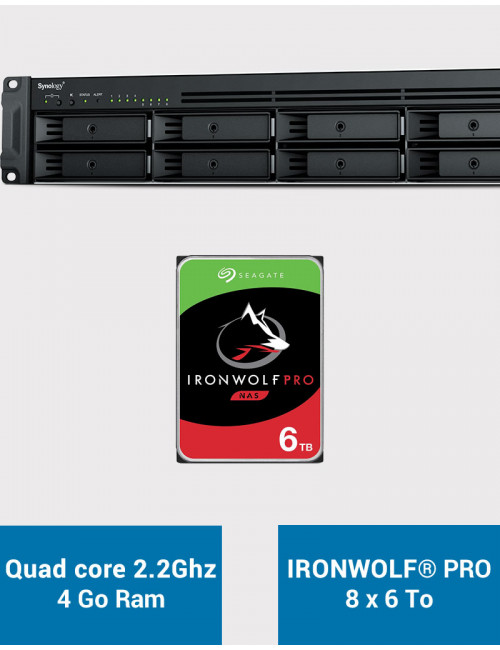 Synology RS1221+ Serveur NAS Rack IRONWOLF PRO 48To (8x6To)