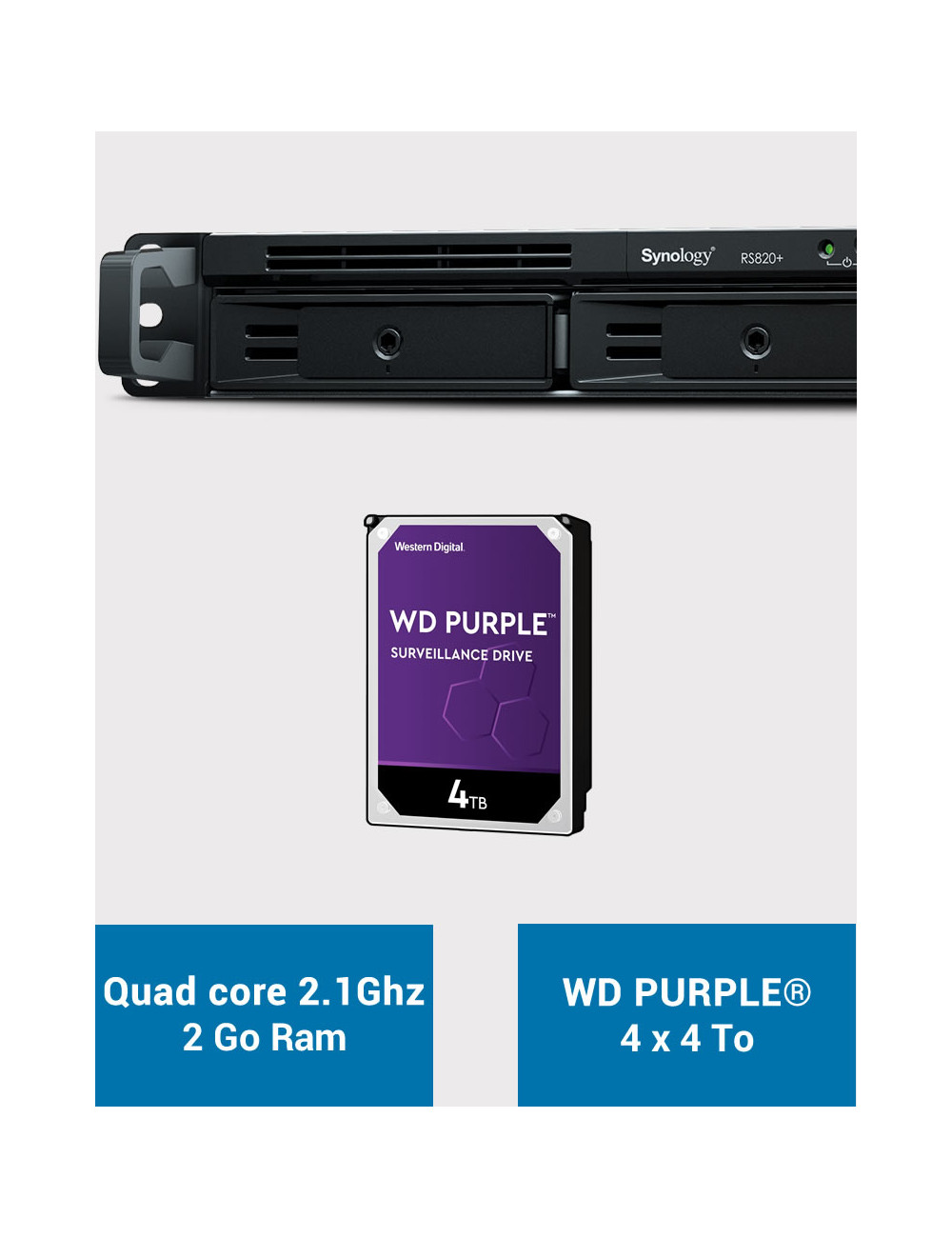 Synology RS820+ 2GB Serveur NAS WD PURPLE 16To (4x4To)