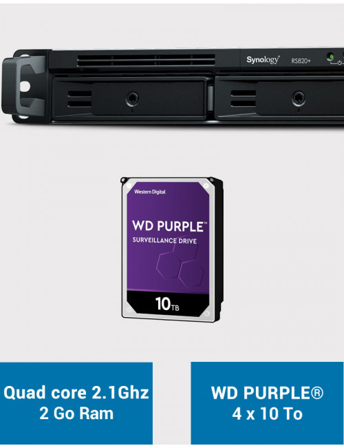 Synology RS820+ 2GB Serveur NAS WD PURPLE 40To (4x10To)