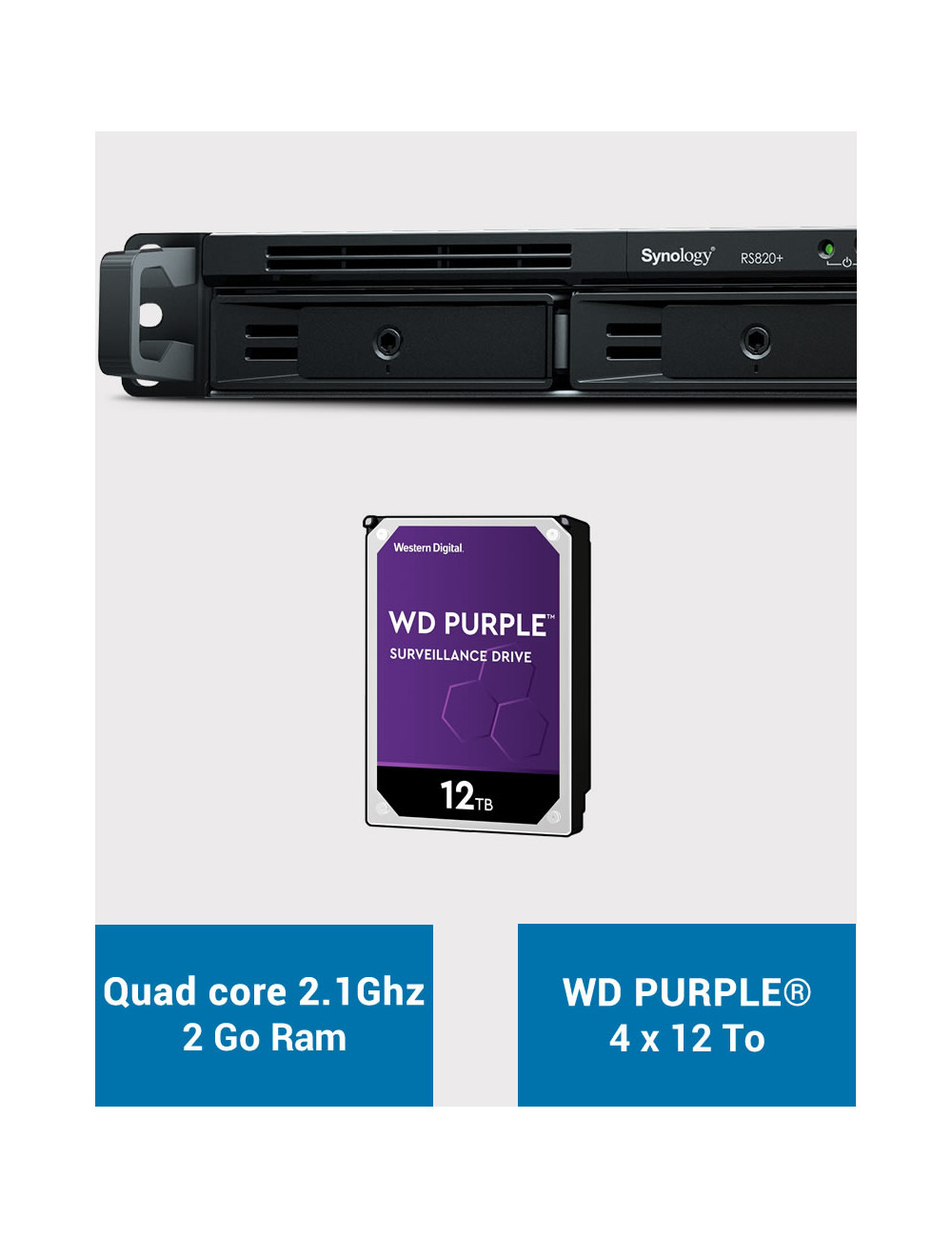 Synology RS820+ 2GB Serveur NAS WD PURPLE 48To (4x12To)