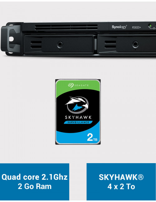 Synology RS820+ 2GB Serveur NAS SKYHAWK 8To (4x2To)