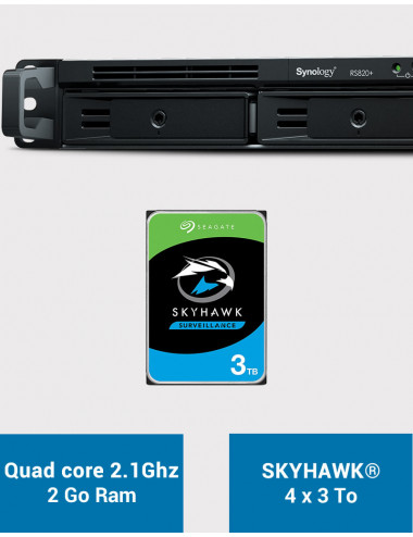 Synology RS820+ 2GB Serveur NAS SKYHAWK 12To (4x3To)