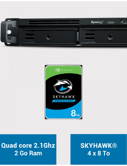 Synology RS820+ 2GB Serveur NAS SKYHAWK 32To (4x8To)